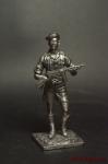 Немецкий солдат,2-ая мировая война, с автоматом - Оловянный солдатик. Чернение. Высота солдатика 54 мм