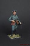 Немецкий офицер,2-ая мировая война, в каске, с автоматом - Оловянный солдатик коллекционная роспись 54 мм. Все оловянные солдатики расписываются художником вручную