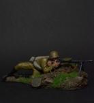 Боец с пулеметом ДП, 1942 - Оловянный солдатик коллекционная роспись 54 мм. Все оловянные солдатики расписываются художником вручную