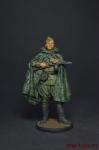 Красноармеец-автоматчик в плащ-палатке, 1943-45 гг. СССР - Оловянный солдатик, роспись 54 мм. Все оловянные солдатики расписываются художником вручную