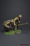 Бегущие бойцы РККА с ПТРД - Оловянный солдатик, роспись 54 мм. Все оловянные солдатики расписываются художником вручную