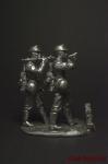 Немецкие пулемётчики,вторая мировая война - Оловянный солдатик. Чернение. Высота солдатика 54 мм