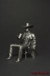 Ковбой на стуле - Оловянный солдатик. Чернение. Высота фигурки 54 мм