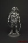Водолаз Аварийно-спасательной службы ВМФ СССР 1941-45 - Оловянный солдатик. Чернение. Высота фигурки 54 мм