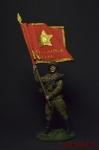 Старшина Красной Армии с полковым знаменем. 1943-45 СССР