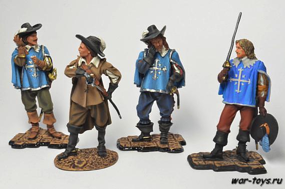 Набор оловянных солдатиков - Мушкетеры 4 шт. Коллекционная роспись